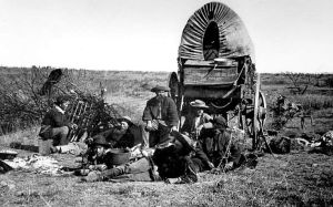 Buffalo hunters at their camp in Texas, about 1877